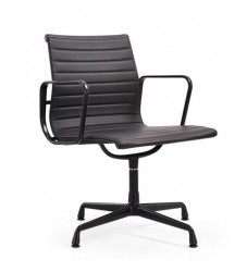 Eames EA108 meeting chair leather black frame black