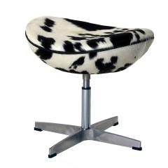 voetenbankje Egg Chair zwart/wit logo