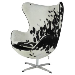 lounge stoel Egg Chair zwart/wit logo