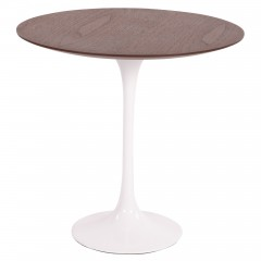 bijzettafel Tulip Side table 50cm Top Walnoot Tafelpoot wit logo