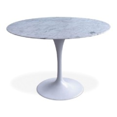 eettafel Tulip Table 100cm  Top Marmer wit Tafelpoot wit logo