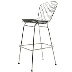 Bertoia barstool black cushion