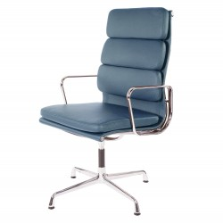 Eames conference chair EA208 high leather blue