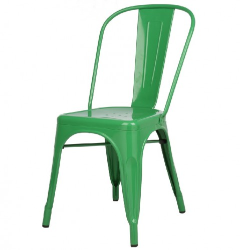 Xavier Pauchard Tolix terrace chair no armrests glossy dark green