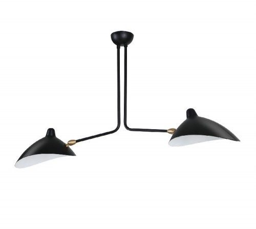 Serge Mouille Contemporary Pendant light 2 arm black
