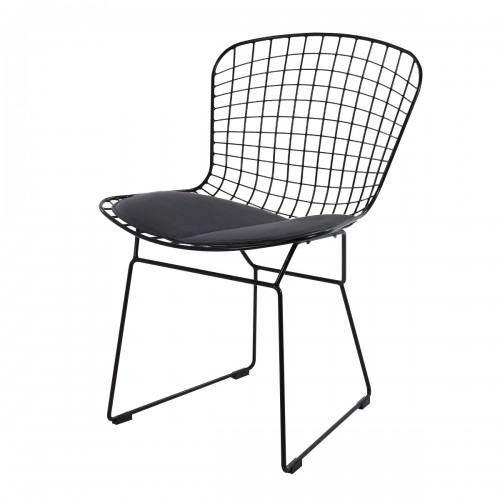 Bertoia dining chair black frame black cushion