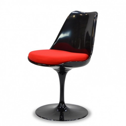 Saarinen Tulip chair black no arms cushion red