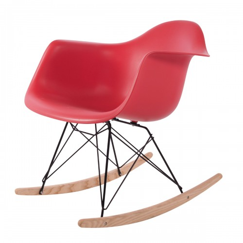 Eames rocking chair RAR Black Base PP coral pink