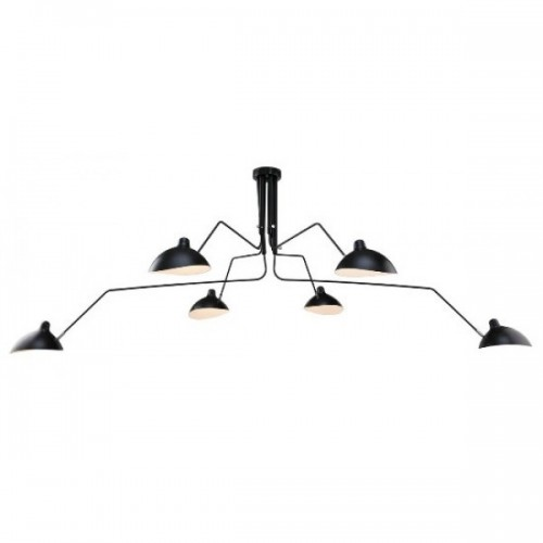 Serge Mouille Contemporary pendant light 6 arms black