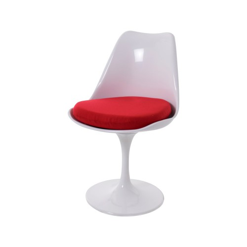 saarinen style tulip chair no arm white cushion red