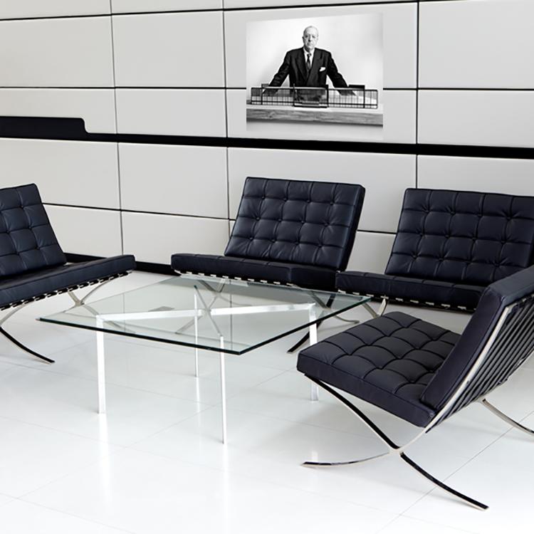 rohe coffee table. barcelona pavillion metal. design tables.