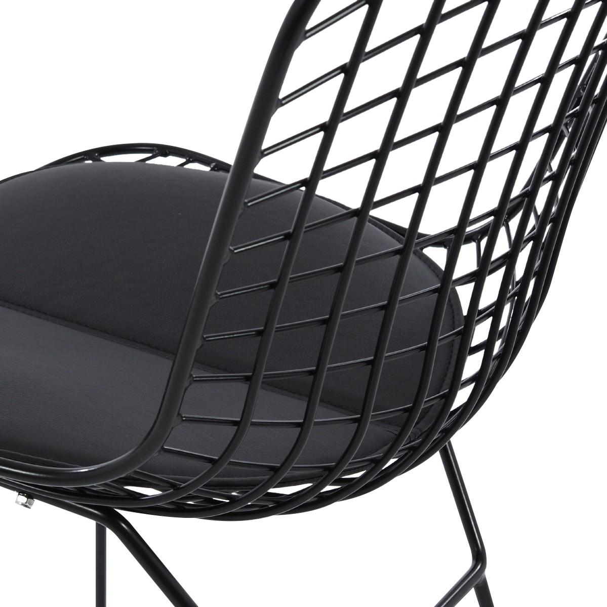 ... White Cushion Bertoia Dining Chair Black Frame Detail ...