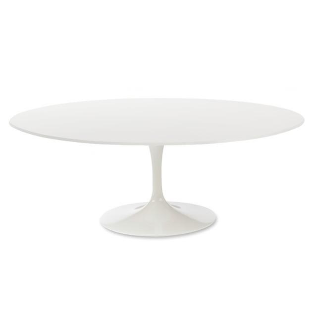tavolo da pranzo Tabella del tulipano Top in legno bianco base bianca