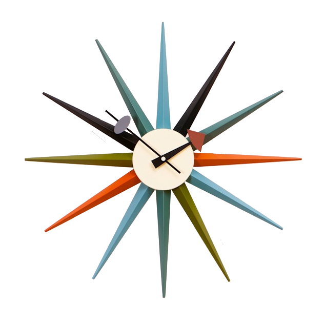 George nelson wall clock starburst clock multicolor for Nelson wall clock