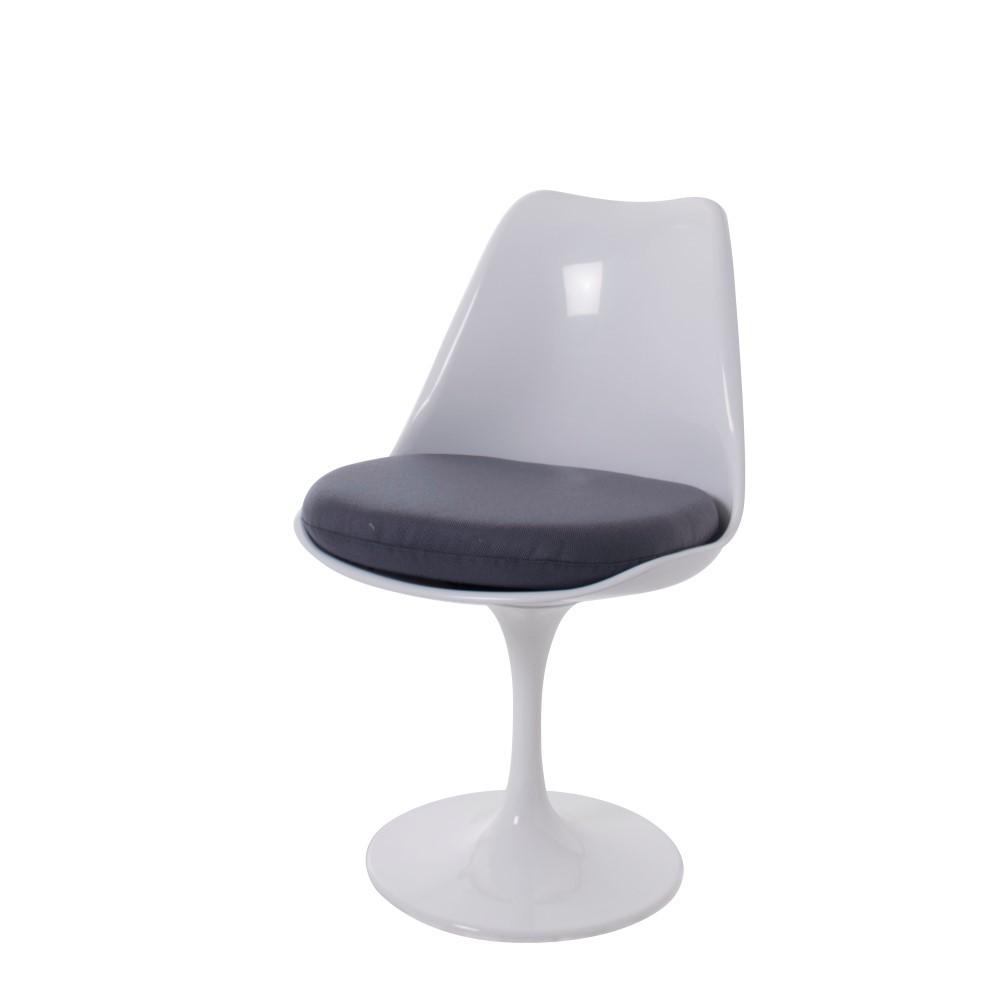 Saarinen Tulip Chair White No Arms Cushion Grey
