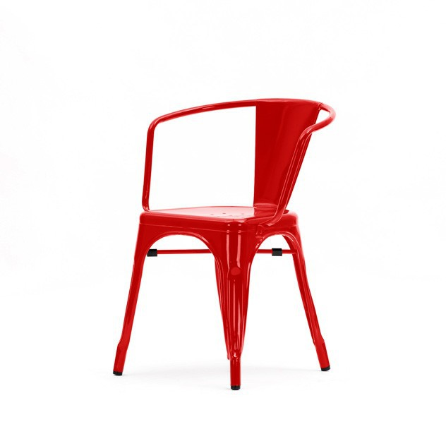 Xavier Pauchard Tolix Terrace Chair With Armrests Red