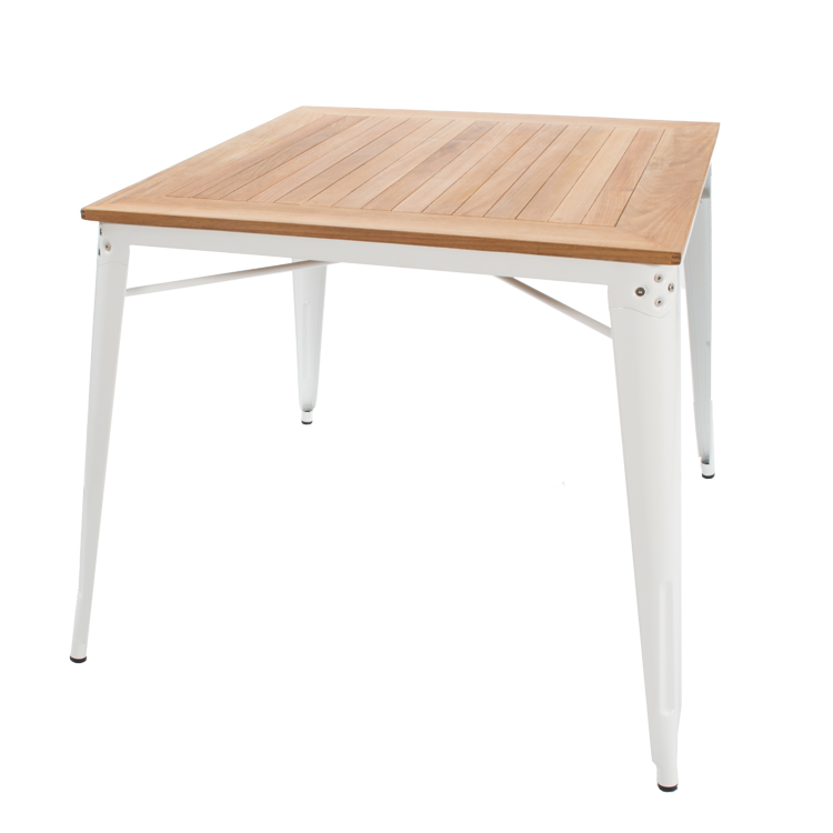 Dining Table Tolix Style Outdoor White