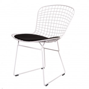 Bertoia Chair white frame black cushion
