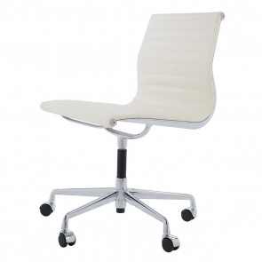 Eames officechair EA105 on castors leather cream