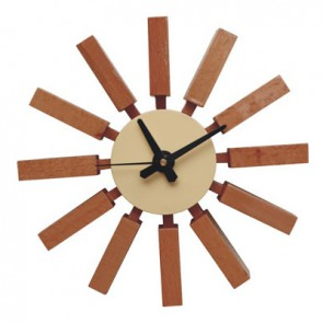 George Nelson Block Clock brown natural