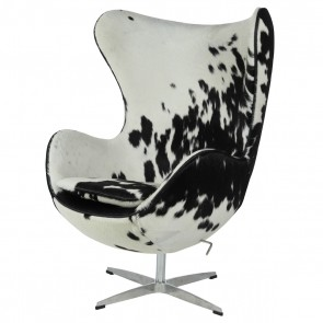 Jacobsen Egg chair cowhide black and white