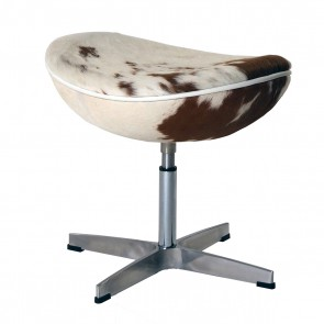EGG footstool cowhide brown white