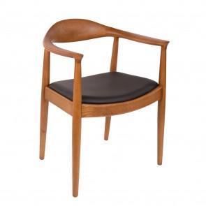 Hans Wegner Kennedy dining chair walnut black leather seat