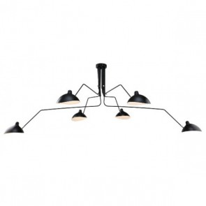 Contemporary pendant light 6 arms black