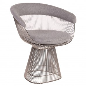 Platner Wire Armchair SMALL-CHROME cashmere light grey
