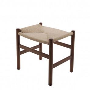 Wegner CH24 style footstool  walnut-natural cord