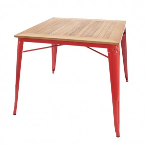 Xavier Pauchard Tolix square dining table red