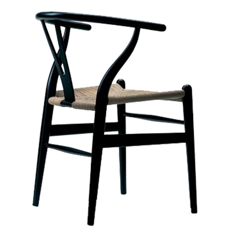 Wegner wishbone style eetkamerstoel y stoel ch24 zwart for Design stoel 24